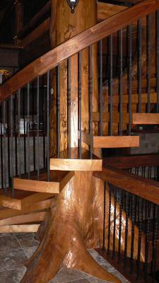 Oak Tree Beam Stairway - Tree Staircase